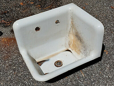 Vintage Enameled Cast Iron Roll Rim Kitchen Sink W/Back + Right-Hand End