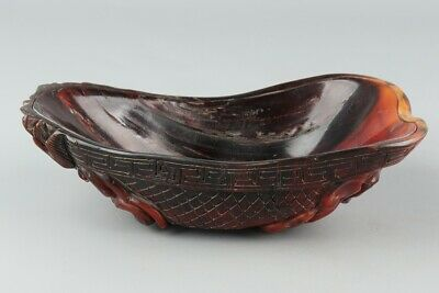 Chinese Exquisite Hand-carved beast Carving OX Horn bowl