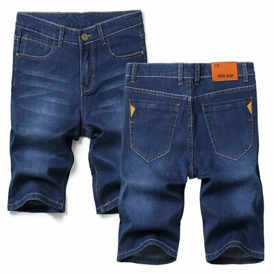 Men's Summer Denim Shorts Straight Slim Solid Color Stylish Plus Size Outfit New