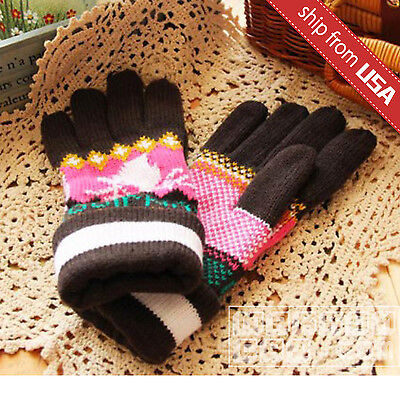 US Woman Men Knitted Winter Gloves Brown Deer Insulated Warm Cute Christmas gift