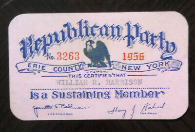 Vintage 1956 Republican Party Membership Card Erie County Buffalo New York