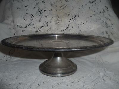 Vintage Etched SilverPlate Pedestal Cake Pastry Plate Stand Dessert Serving Tray