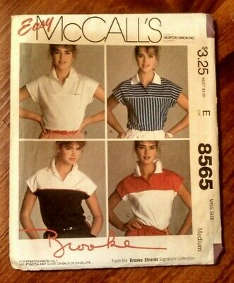 Vtg McCall's Sewing Pattern 8565 Miss Sz Medium Tops Inspired by Brooke Shields
