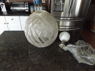 Vintage Mid Century Spaghetti Hanging Swag Lamp Light Lucite Unique Clear Globe