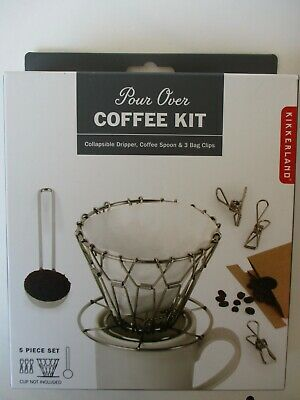 Kikkerland Pour Over 5 Piece Coffee Kit/ Collapsible- Dripper/ Spoon/ Clips- NIP