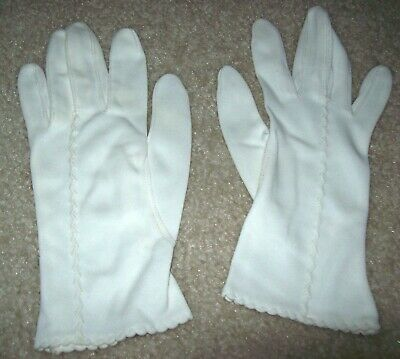 Ladies Vintage White Nylon Gloves Size Small Great for Prom or Formal