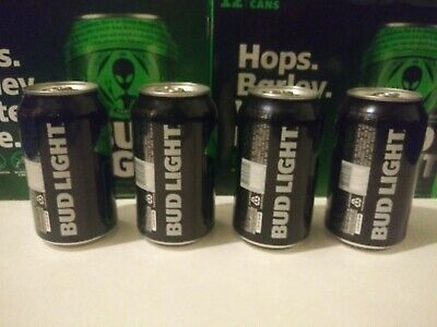 (4 FULL CANS) Bud Light Storm Area 51 Green Alien UFO Can Limited Edition
