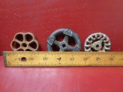3 Vintage & Antique Cast Iron Shut Valve Spigot Handles #3