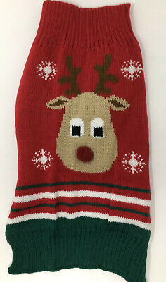 Christmas Knitted Dog Jumper Red With Rudolph Picture 38x19cm