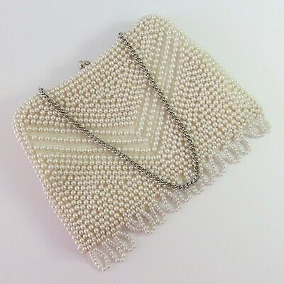 Vintage Faux Pearl Bead Clutch Evening Purse Beaded Bag With Chain, Japan