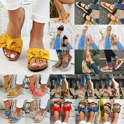 Womens Flatform Espadrille Sandals Bowknot Ladies Wedge Ankle Slip On Shoes Size
