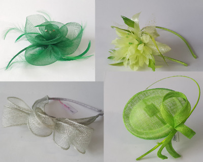 Green Fascinator - Sage Lime - Wedding Aliceband Ascot Hat Hatinator Feather lot