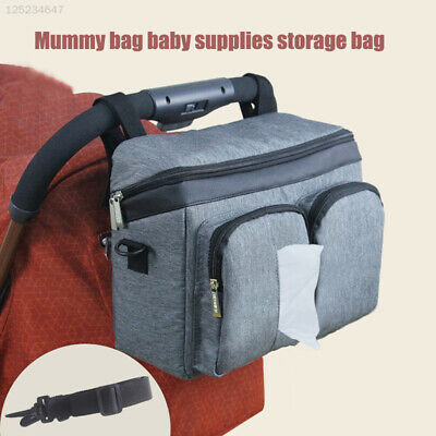 9AB9 Grey Travel Hanging Carriage Diaper Bag Outdoor Useful