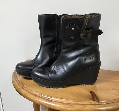 Fly Leather Ankle Boots Size 4, Black, Wedge Heel, Zip & Buckle