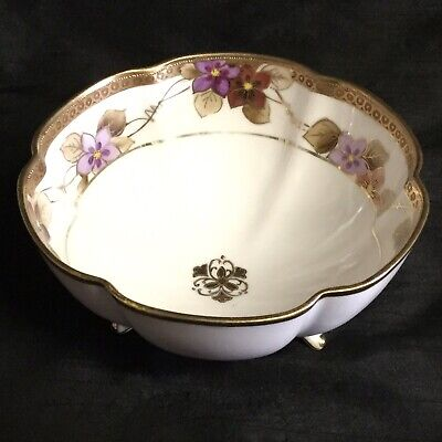 ✨ Exquisite Antique 'Noritake' Hand-Painted Tri Footed Gilded Bowl ✨
