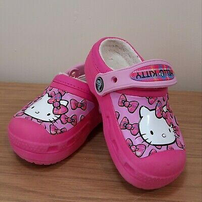 Hello Kitty Girls Crocs, Winter Lined, Infant 8, 9 VGC