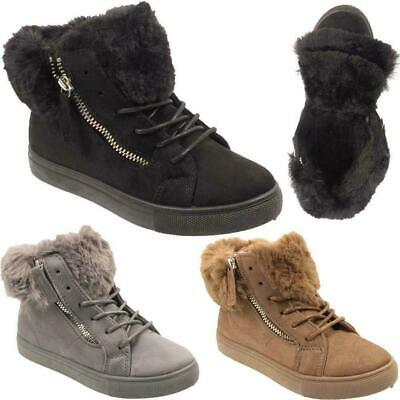 Girls Winter Lace Zip Up Kids Faux Fur Lined Ankle Combat Boots Trainers Shoes