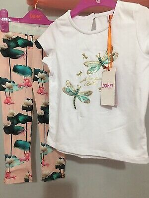 New Girls Designer Ted Baker White Sequin Dragonfly Lily Outfit 4-5yrs