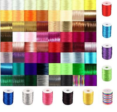 Rattail Cord 2mm Satin Nylon Thread 80 COLOURS Kumihimo Macrame 5 METERS/99p