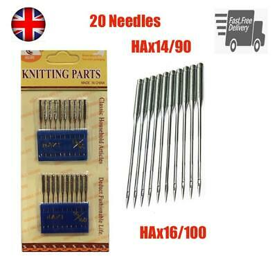20Pcs Flat Round Domestic Home Sewing Machine Needles Brother Janome Singer HAX1