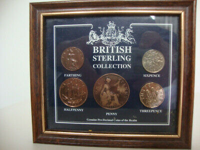 British Pre-Decimal Sterling Five Coin Collection Heritage Mint Ed26 Framed