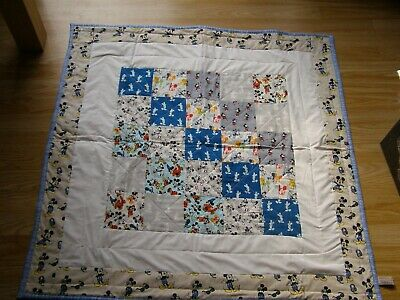 Handmade Quilted Patchwork Baby Quilt Cot / Pram Mickey Mouse Polka Dot Back