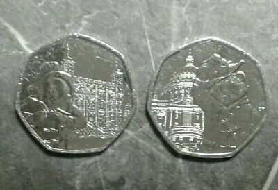 NEW! 2x Paddington Bear 50p's 2019 The Tower Of London & St Paul's Cathedral