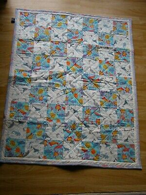 Handmade Quilted Patchwork Baby Quilt Cot / Pram  Whales & Turtles Fish Back