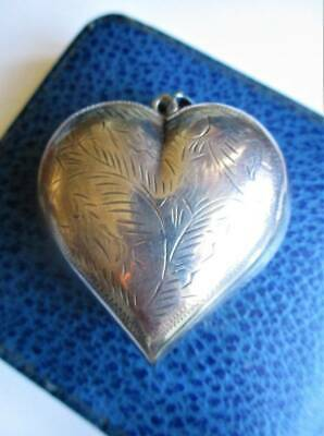 GIGANTIC! Hallmarked Sterling Silver puffy heart pendant. Victorian Style. Heavy