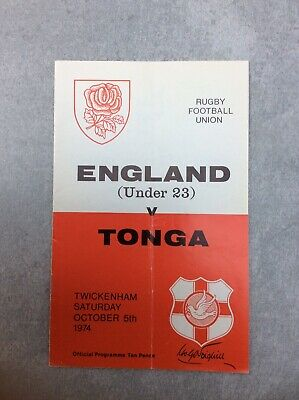 TONGA 1974 tour v England U23 Rugby Programme 5th October 1974 - Best Price