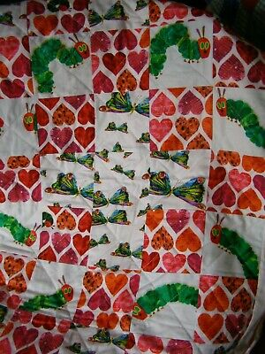Handmade Quilted Patchwork Baby Quilt Cot / Pram Hungry Caterpillar Fruit Back