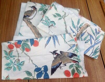 3 Vintage Curtain Fabric Off Cuts Cotton With Birds And Butterflies
