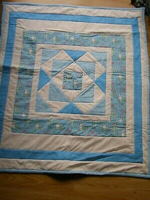 Handmade Quilted Patchwork Baby Quilt Cot / Pram Baby Bunny Blue
