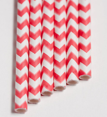 Aardvark Paper Drinking Straws 7.75-Inch Coral White Chevron Case of 600
