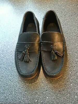 River Island Girls Black Leather  School Shoes - Size 13