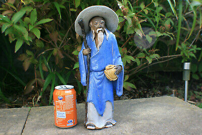 20th C. Chinese Porcelain Pottey Hand Painted Carved Pattern Old Man Figurine
