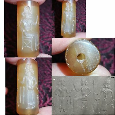 Carnelian Wonderful Old Near Eastern intaglio stone Lovely Antique Bead  # 32