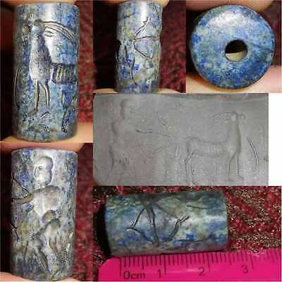 Near Eastern Old Lapis lazuli Hunter & Deer intaglio stone BEAD  # 32