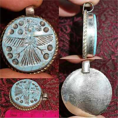 Beautiful turquoise stone intaglio Near Eastern Lovely Old Pendant  # 32