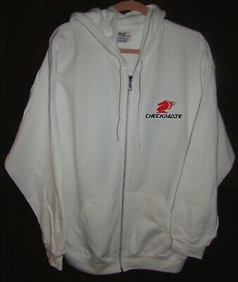 Checkmate Knight Boat XL  Embroidered Hooded Sweatshirt Full Zip White