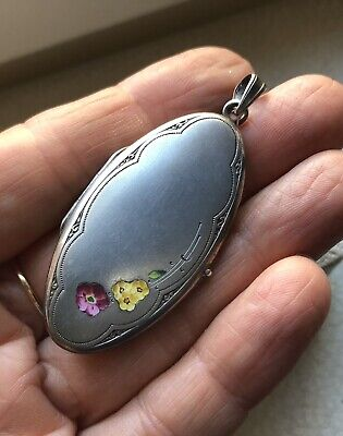 1910s ANTIQUE VICTORIAN ALPACCA LOCKET PENDANT w/ENAMEL FLOWERs