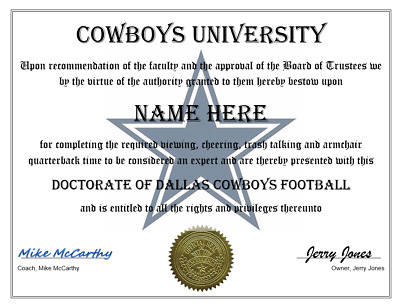 Dallas Cowboys Personalized Fan Certificate / Diploma, Great Gift