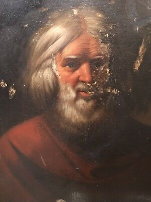 Old Masters Antique 17Th  Century Painting Of An Old Man