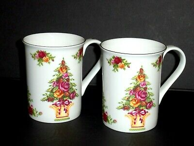 Royal Albert Old Country Roses HOLIDAY ACCENT Mugs - Two (2)