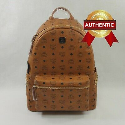 New Authentic Mcm Stark Side Studs Backpack In Visetos