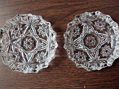 "Ashtrays Two Star of David Early American Prescut 4-1/4"" Anchor Hocking Glass"