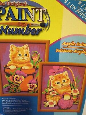 Paint By Number Kit Kitty Cats Kittens 2 prints Craft House Unopened