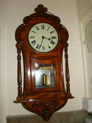 antique American 8 day strike on bell wall clock carved case working for restore