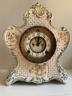 "Antique Ansonia (Royal Bonn ?) ""Pontiac"" B Porcelain Mantel Clock"