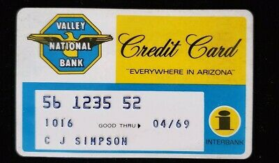 Valley National  Bank Arizona Credit Card exp 69♡Free Shipping♡cc172 Interbank